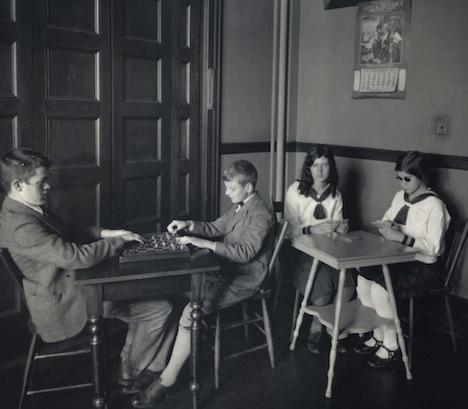 Children playing chess or cards1916